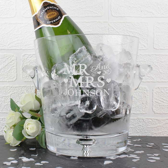 Personalised Mr And Mrs Gl Ice Bucket Gifts By Occasion Wedding Gi Golf Ball Jam Pot