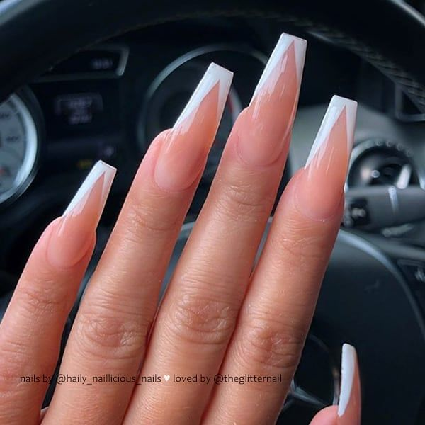 V French On Long Coffin Nails Nail Artist Haily Naillicious Nails Follow Her For More G French Tip Acrylic Nails Coffin Nails Long Aycrlic Nails