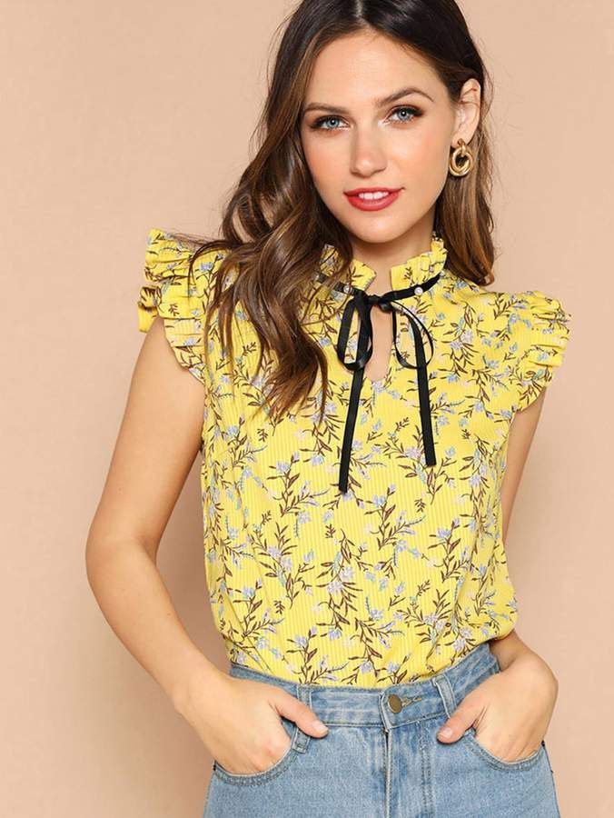 961f9cea34355 Shein Tie Neck Ruffle Sleeve Floral Top in 2019