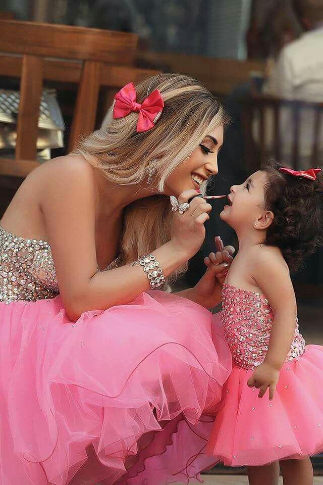 Pink puffy dress mommy+daughter matching | outfits | Pinterest