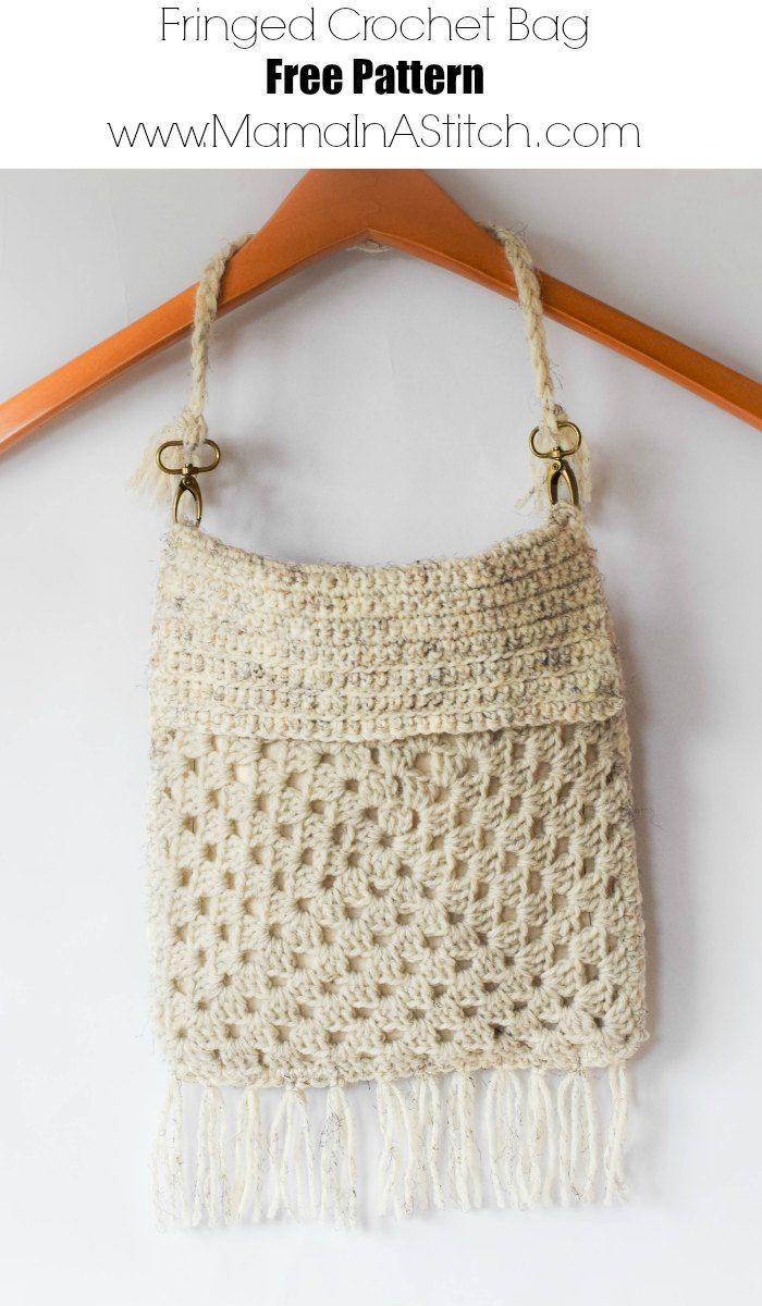 Boho Fringe Granny Square Crochet Purse | Bolso tejido, Deberes y Bolsos