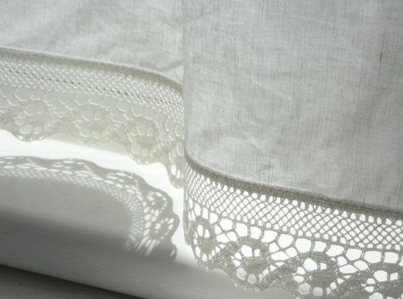 Bathroom Window Curtains With Wave Lace Edge Trim Natural White Linen Cafe  Curtain Panel In French
