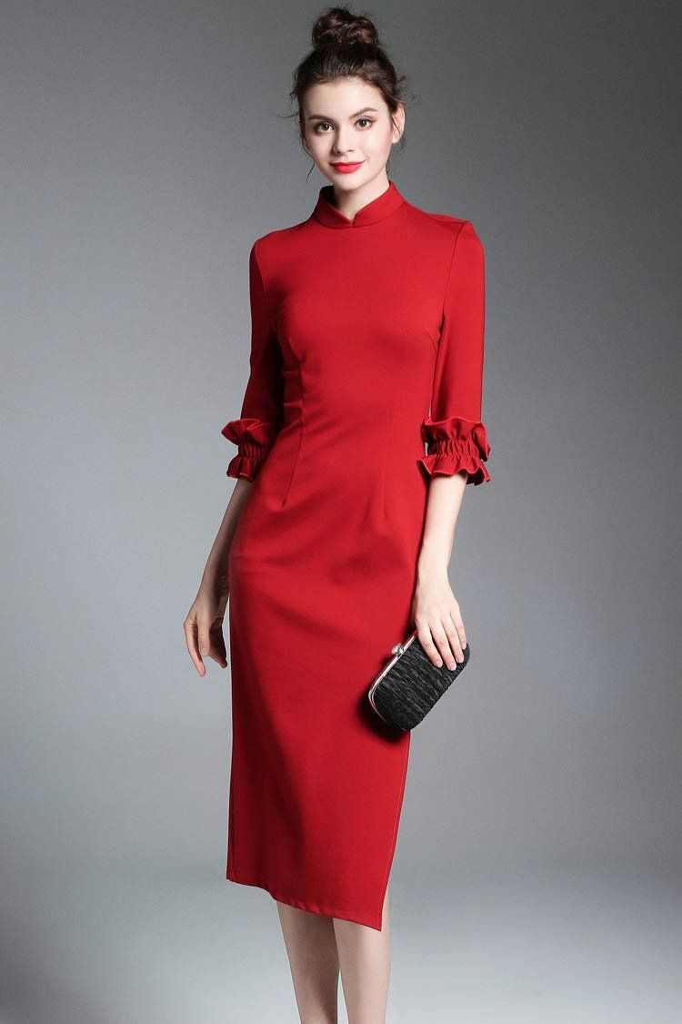 83bedb93993 Новый стенд colloar кружево 1 2 рукава миди платье - WICHIC.COM ...