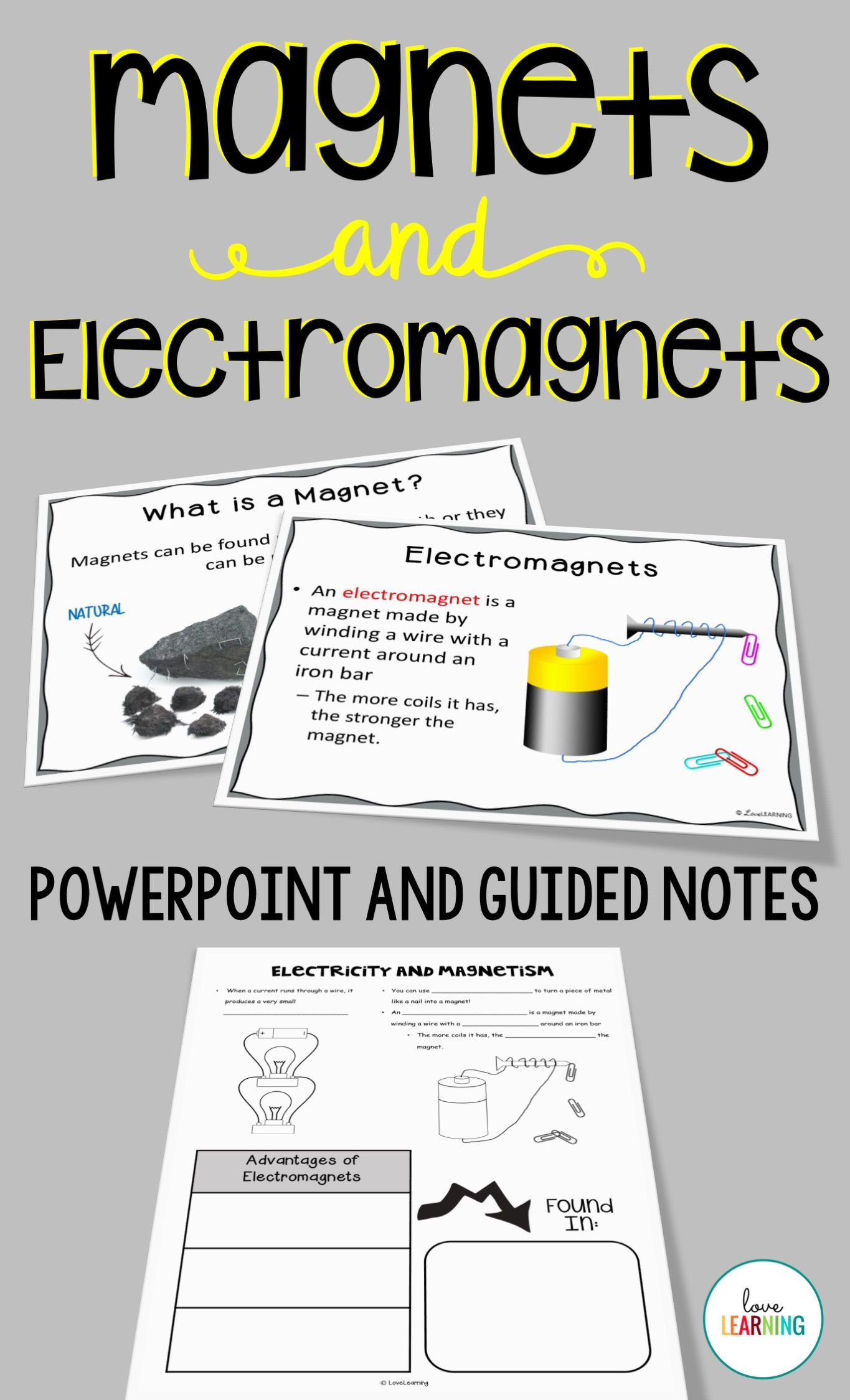 Magnets And Electricity Are An Important Part Of A Science Curriculum And This Powerpoint Lesson And Guided Notes Powerpoint Lesson Guided Notes Electromagnet