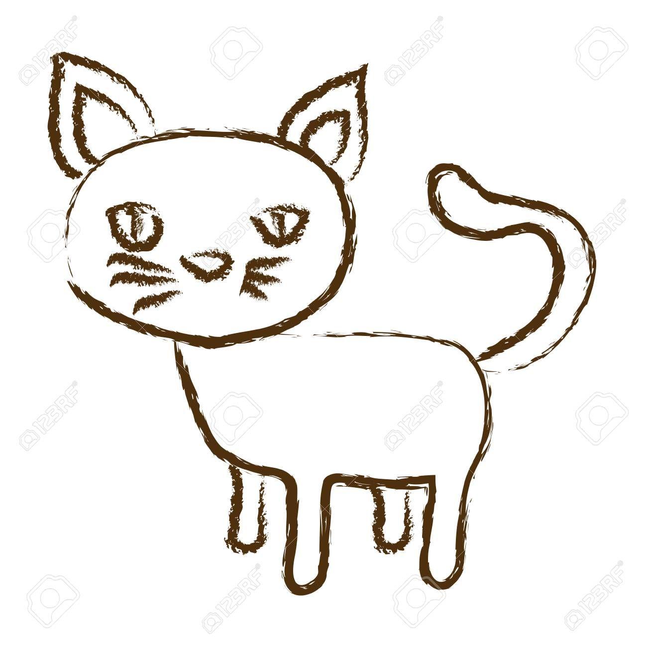 Monochrome Hand Drawn Silhouette Of Cat Vector Illustration