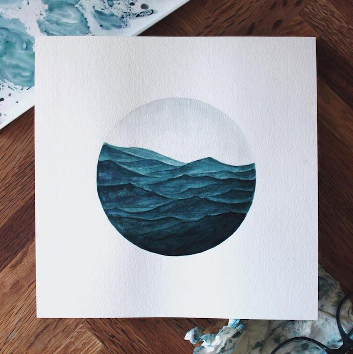 Watercolor Paintings Of Waves And Whales Mimic The Calming