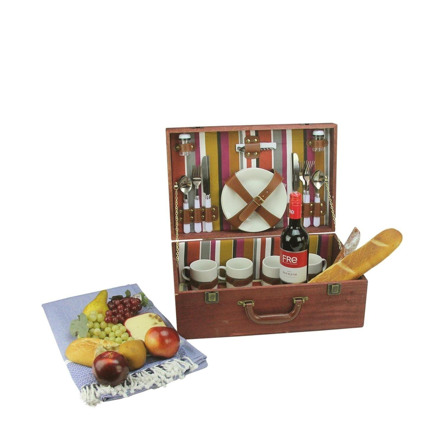 4-Person Hand en Striped Picnic Basket Set with Accessories