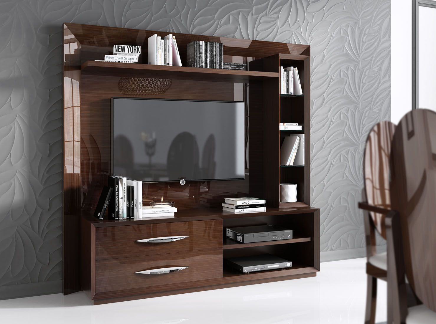 Made In Spain Walnut Protective Gloss Lacquer Wall Unit San Diego  # Table Television En Bois De Sapin