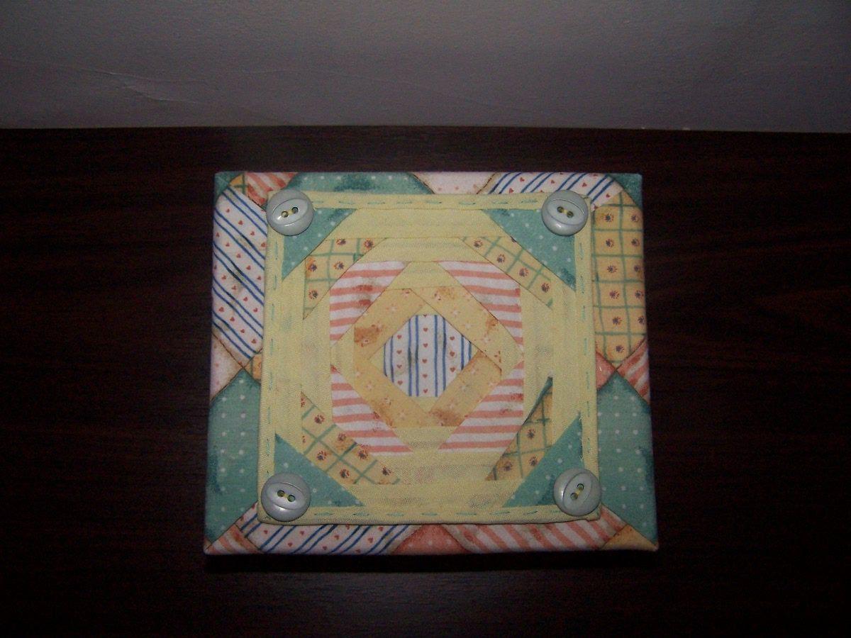 caja forrada en tela y patchwork