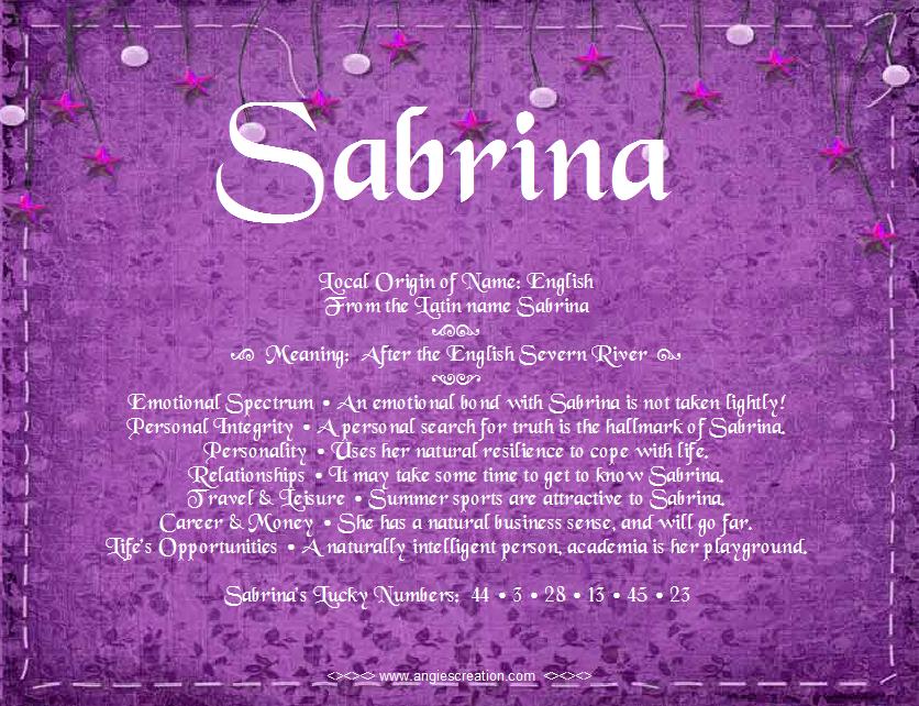 Поздравление имя сабрина