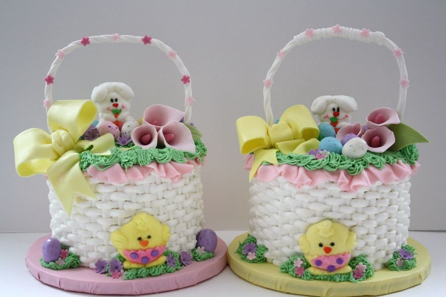 Easter cakes easter speckled eggs and mini cakes easter basket cakes i made these easter basket cakes for my parents and my mother in law carrot cake with buttercream icing fondant negle Choice Image