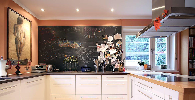 Küche mit Schiefertafel in G-Form 1 Fliesen Küche Pinterest - fliesen in der küche