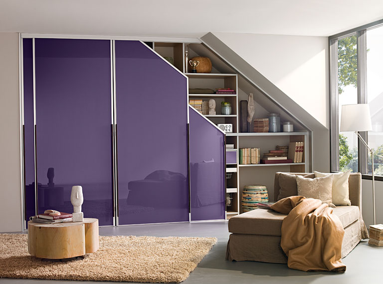 Sloping Ceiling Wardrobe With Glass Sliding Doors Closet Designs Loft Room Modern Closet Designs