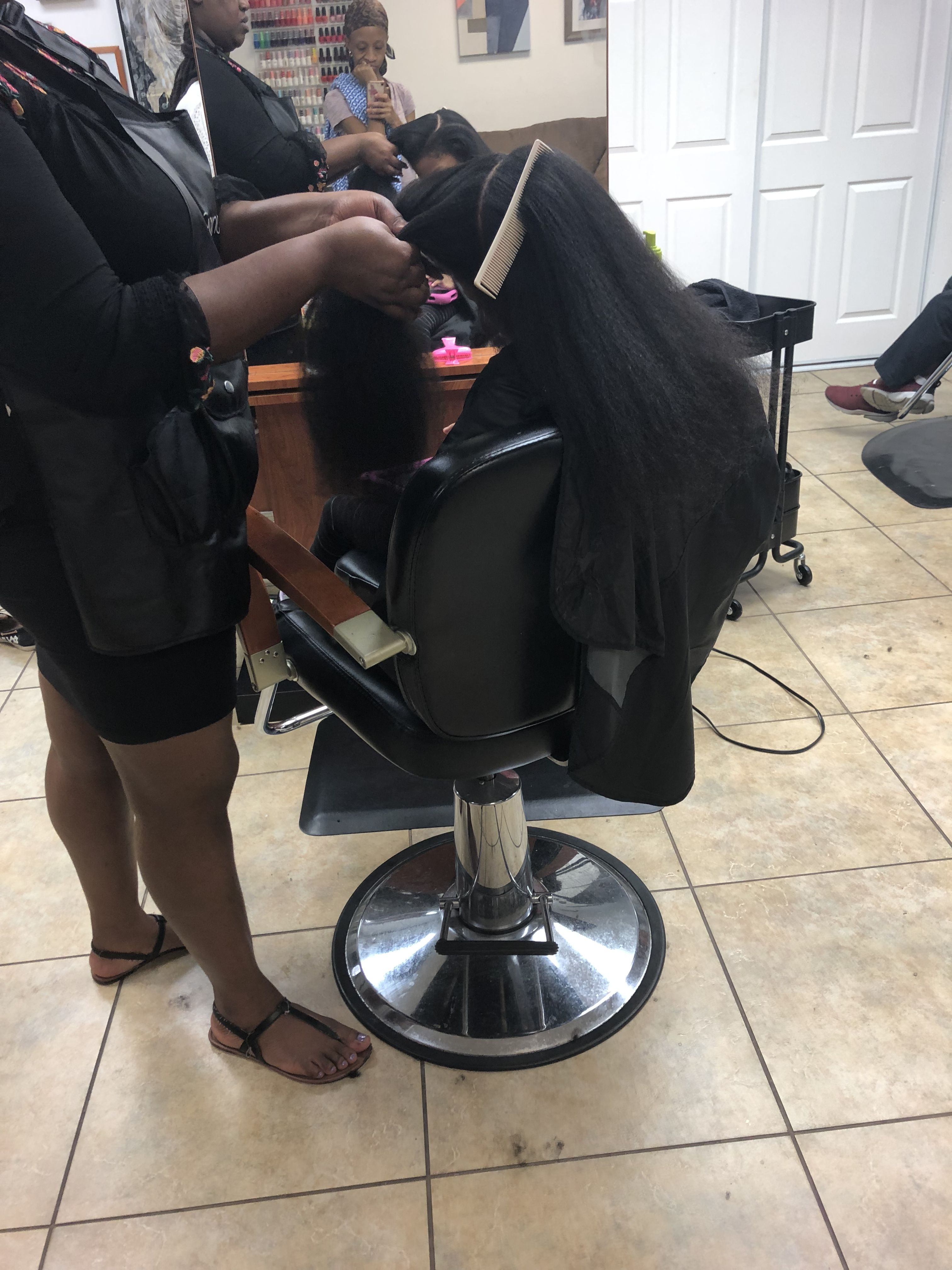My Daughter First Time At The Natural Hair Salon Getting A Blow Dry Trim N Style Natural Hair Salons Natural Hair Styles Hair Salon