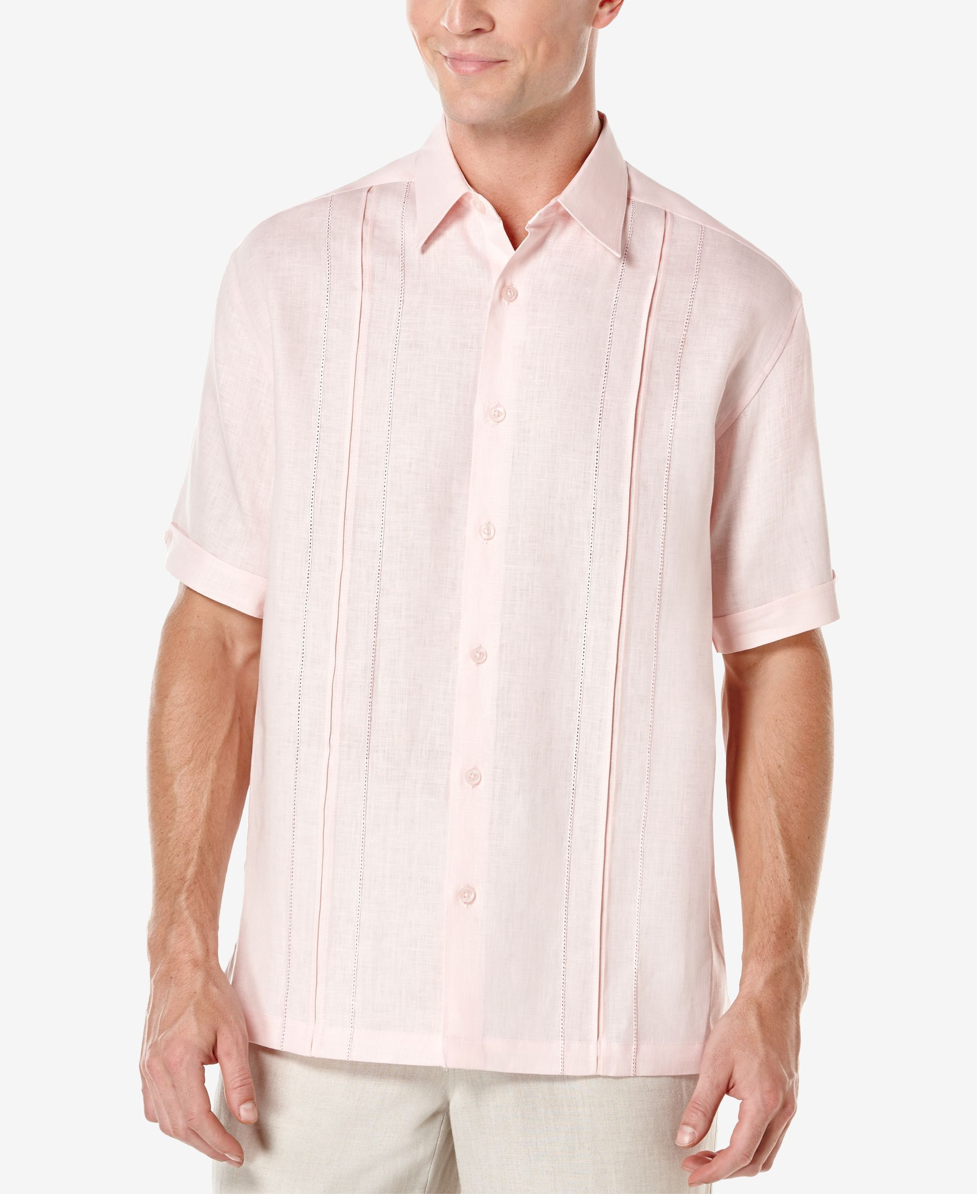 Cubavera Mens Short-Sleeve Yarn-dye Shirt with Embroidery