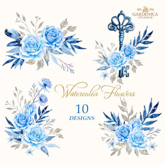 Blue Roses Clipart Blue Watercolor Flowers Clipart Blue Etsy Blue Roses Digital Flowers Blue Rose Tattoos