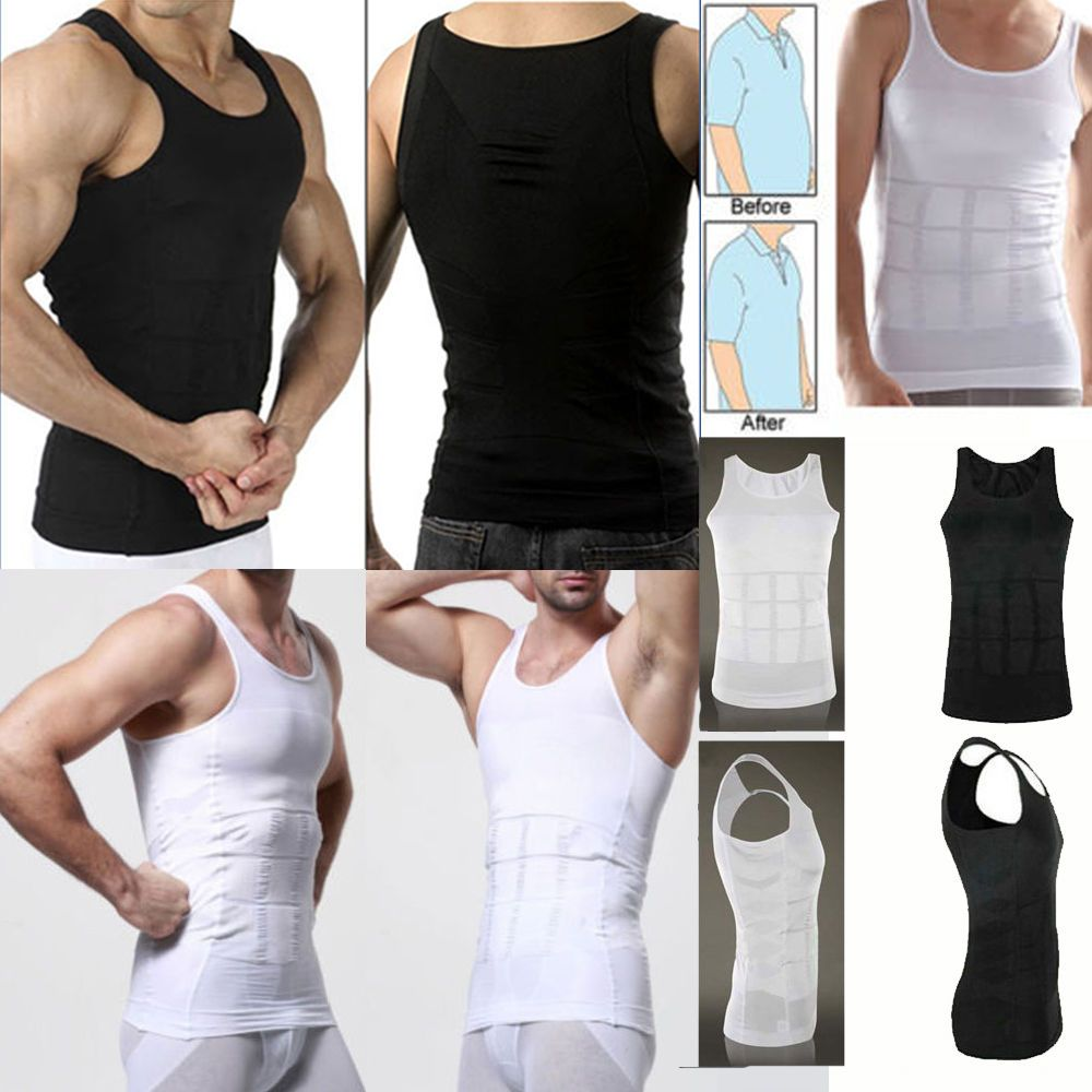 21a53697327 Men Body Slimming Tummy Shaper Belly Underwear Shapewear Waist Girdle Shirt  Vest