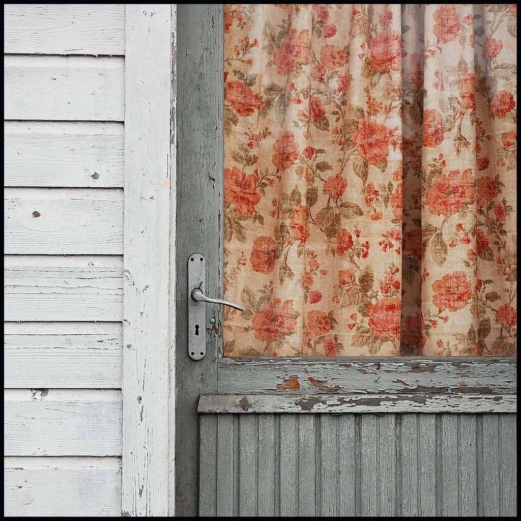 Rustic Boho Front Door with Floral Curtain.