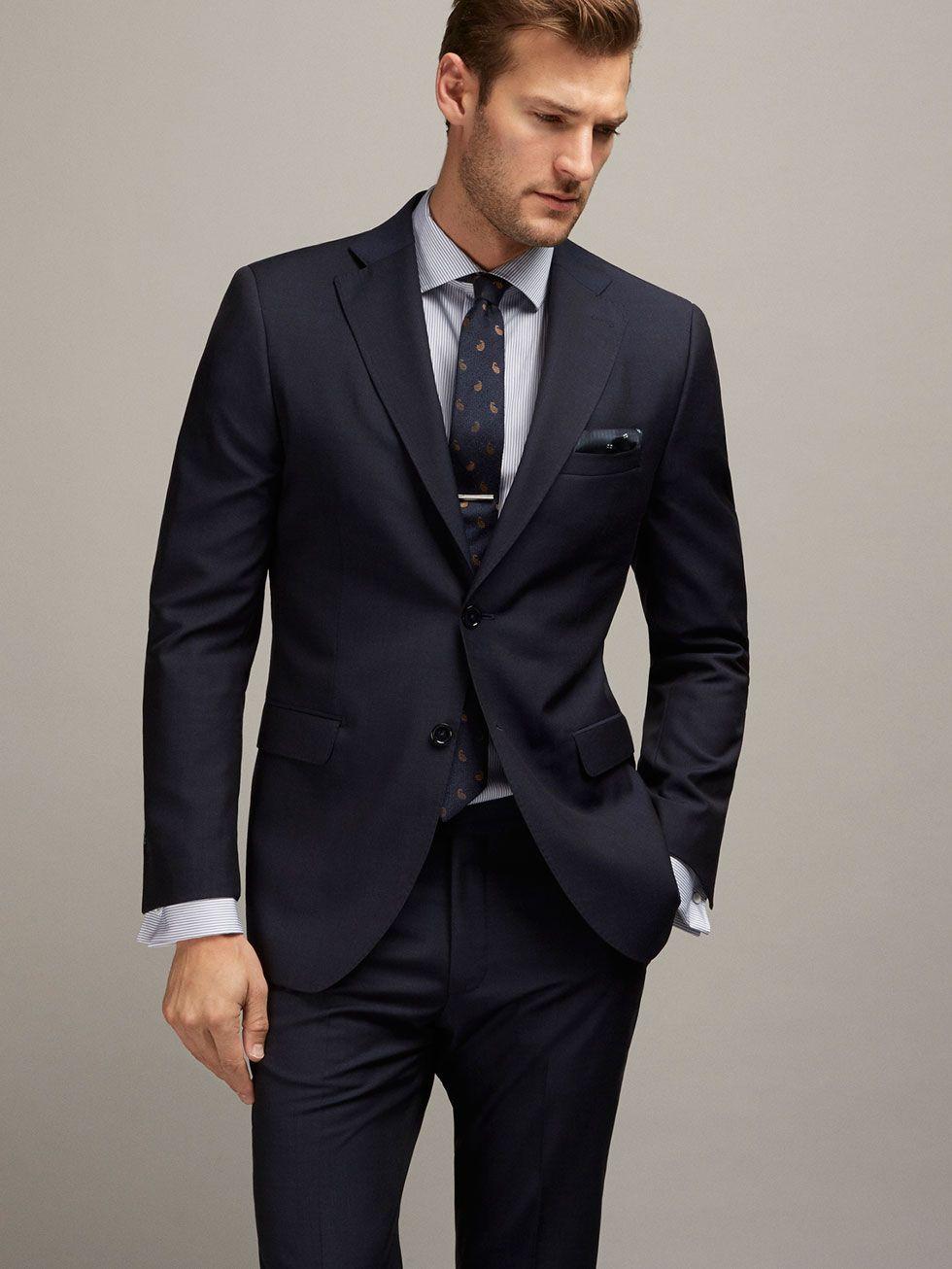 Americana Traje Lana Cuadrille Azul Slim Fit De Hombre Trajes Trajes Slim Fit De Massimo Dutti De Otono Invierno 2016 Por 199 Suits Mens Suits Wool Blazer