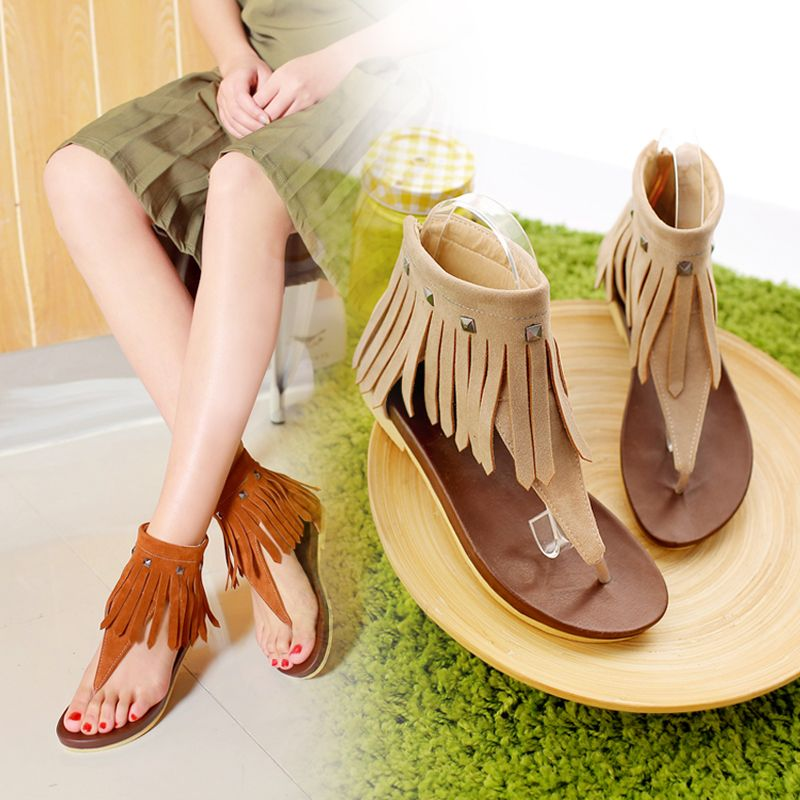 d4f282e8d Summer Women Shoes Women s Sandals Gladiator Flock Fashion Casual Zip Solid  Fringe Rivet Flat with Heel Low Heels