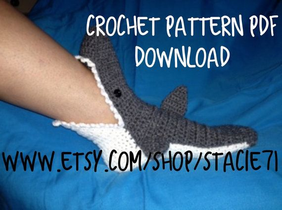 Pattern For Crocheted Shark Socks Baby Child And Adult Sizes In