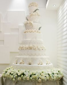 8-Tier all white wedding cake with exquisite details   Project by ...