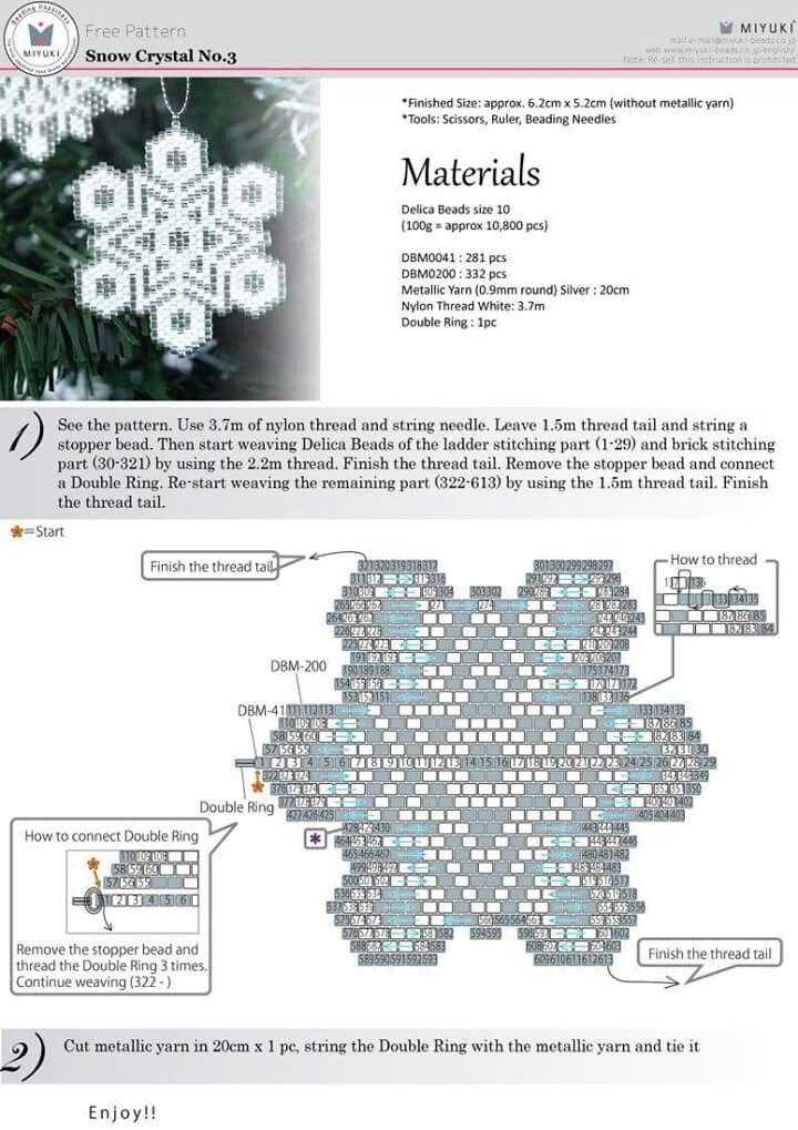 Snow Crystal #3 - Brick Stitch Pattern … | Pinteres…