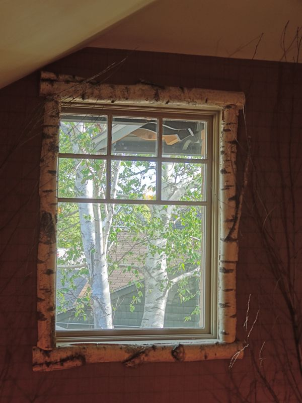 Trim out windows with bark for Log cabin window trim