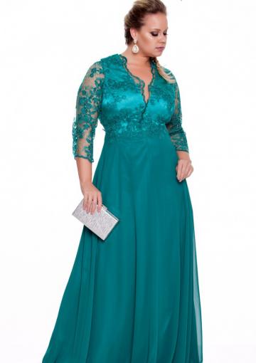 Buy Australia Turquoise Lace V-neck Bodice Chiffon 3/4 ...