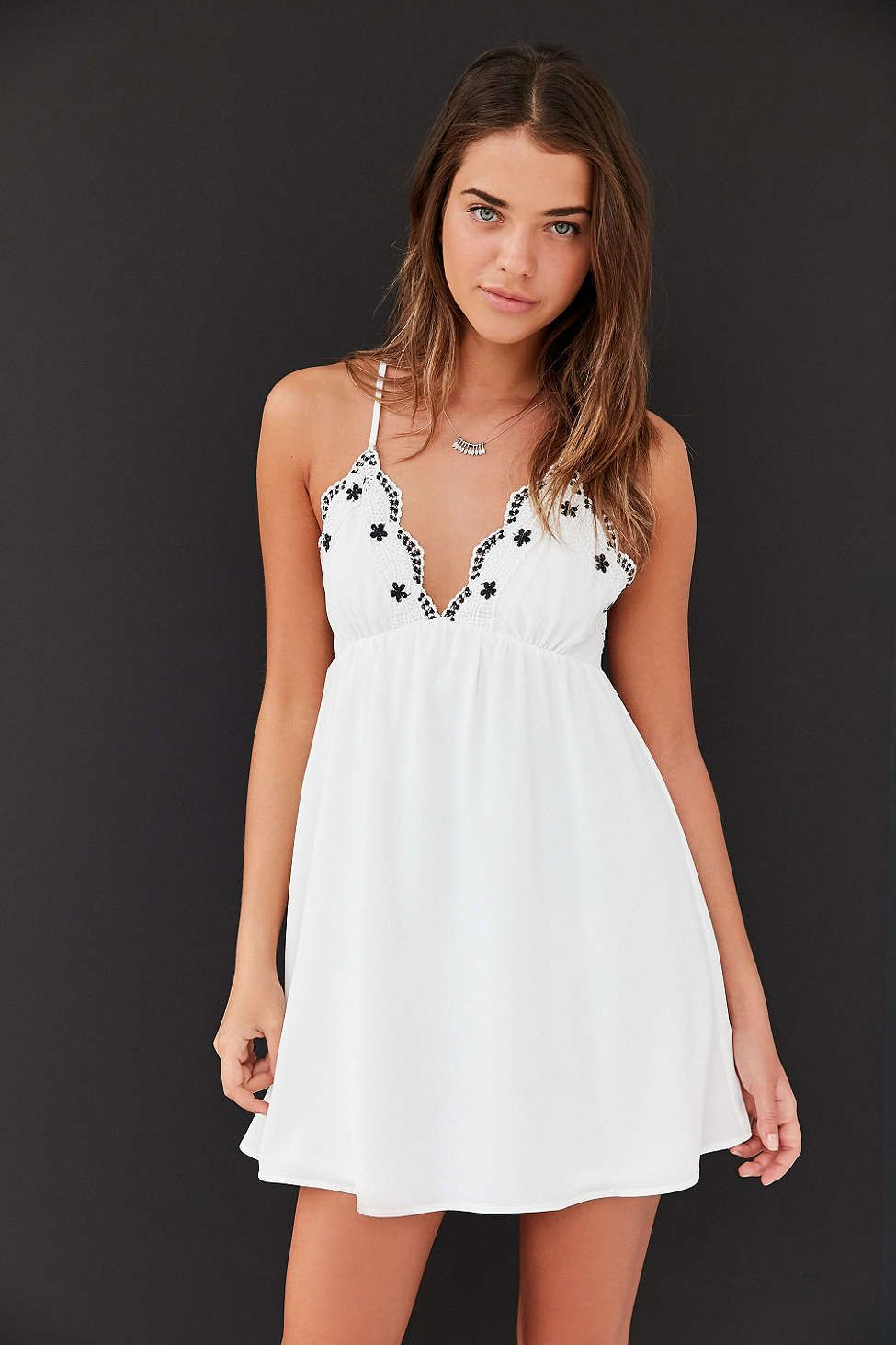 Ecote Embroidered Trim Babydoll Mini Dress - Urban Outfitters