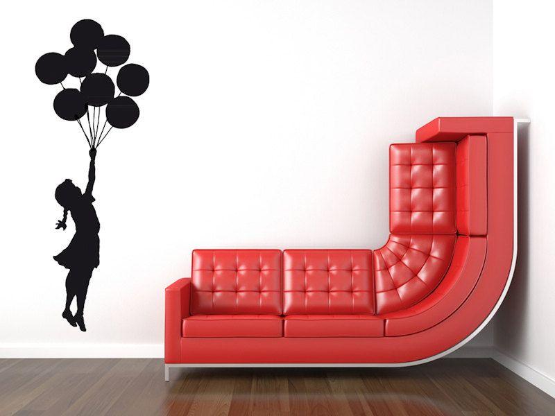 Wandsticker BANKSY BALLON MÄDCHEN mit Luftballons, Wandtattoo Streetart Wandaufkleber Balloon Girl, Banksy Graffiti, Wall Art Sticker