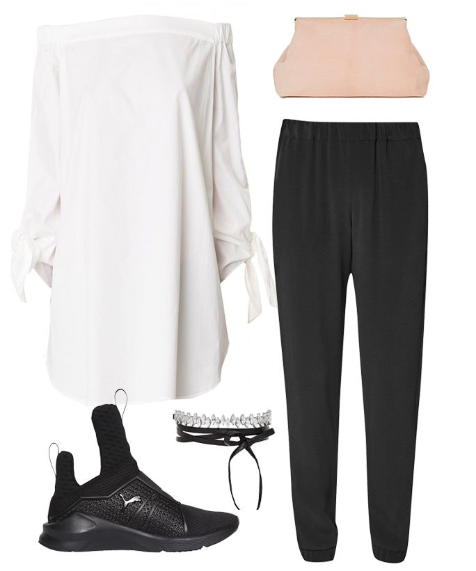 92b28e31ef6 How to wear Rihanna s Fenty x Puma sneaker with an off-the-shoulder top and  joggers