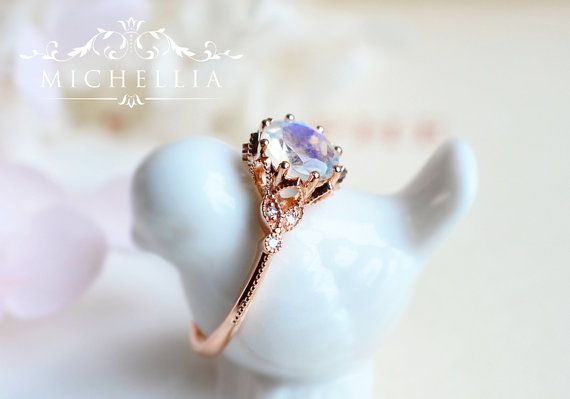 1ae7a4f88c7 Evanthe Moonstone Engagement Ring, Vintage Floral Ring in Rainbow ...