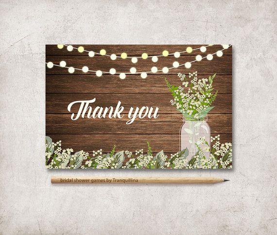 Rustic Thank You Card Printable Mason Jar Baby S Breath Thank You