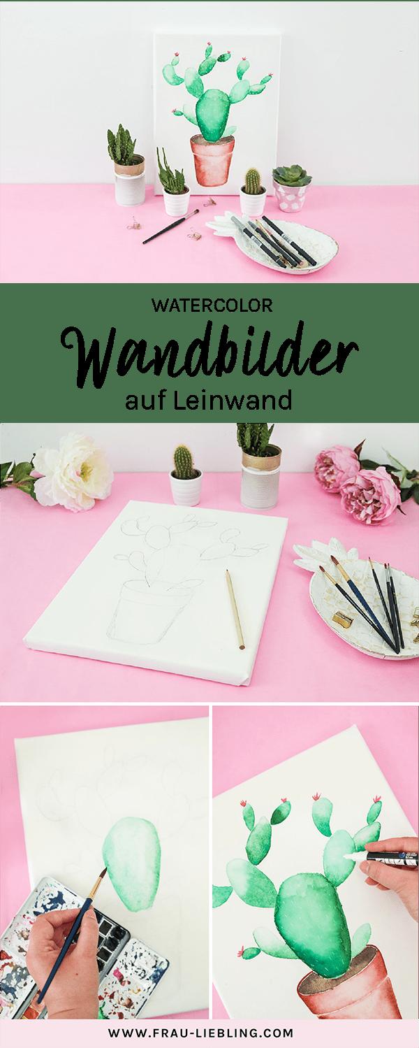 DIY Deko: Lettering und Watercolor auf Leinwänden #wanddekoselbermachen