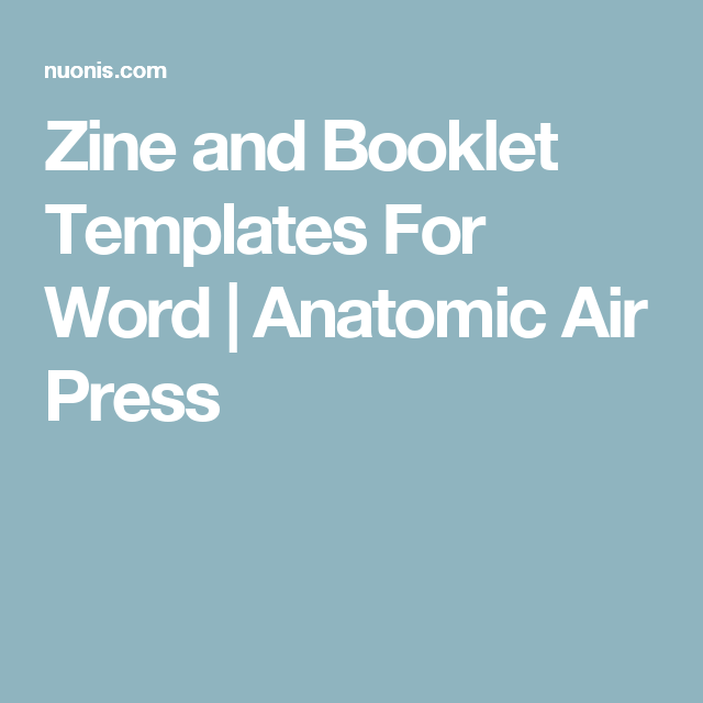 Zine And Booklet Templates For Word Zines Pinterest Booklet