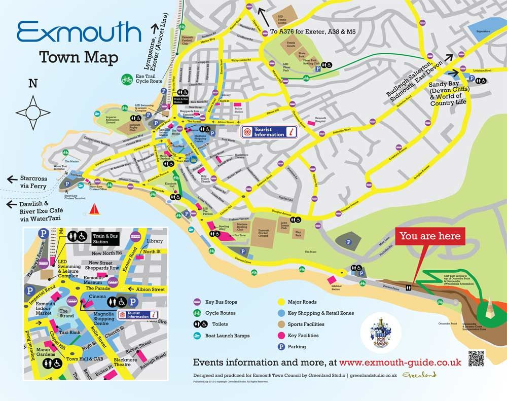 Map Of Exmouth Exmouth Town Map   illustrated and designed by Greenland Studio  Map Of Exmouth