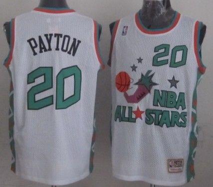 the best attitude 3c83b ef87a NBA 1996 All-Star #20 Gary Payton White Swingman Throwback ...