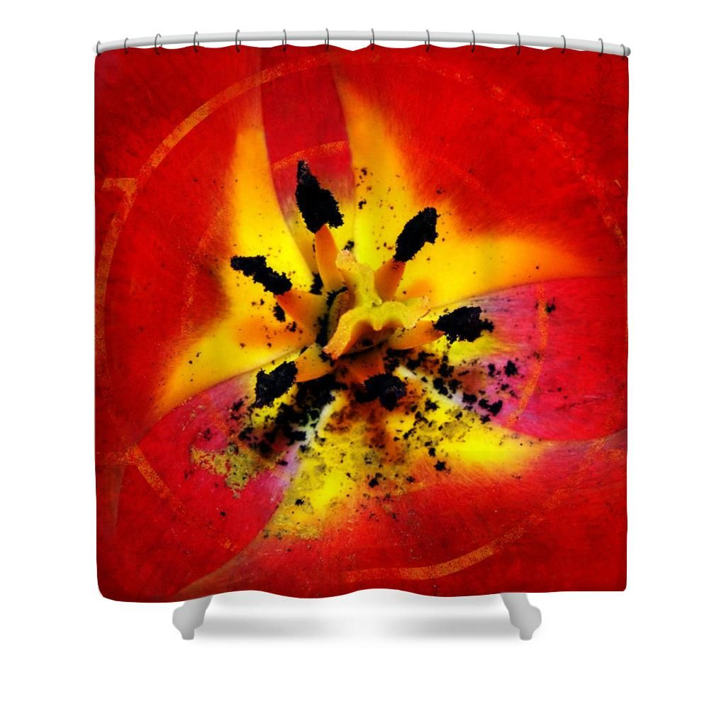 #Red and #Yellow #Flower #Shower #Curtain by Judi Saunders