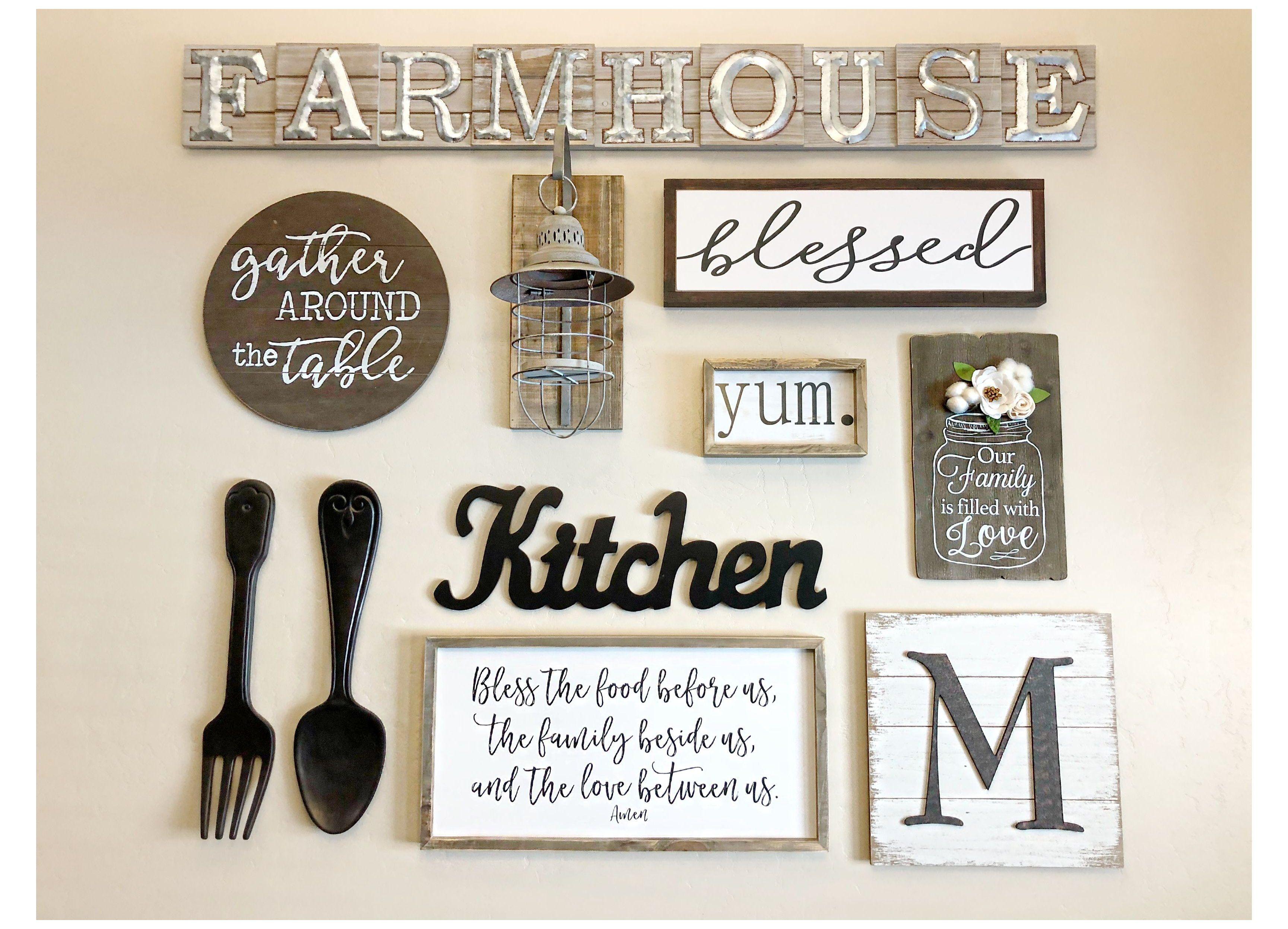 Farm Kitchen Wall Decor Ideas Farmkitchenwalldecorideas In 2021 Kitchen Decor Wall Art Kitchen Gallery Wall Farm Kitchen Decor Country kitchen wall decorations