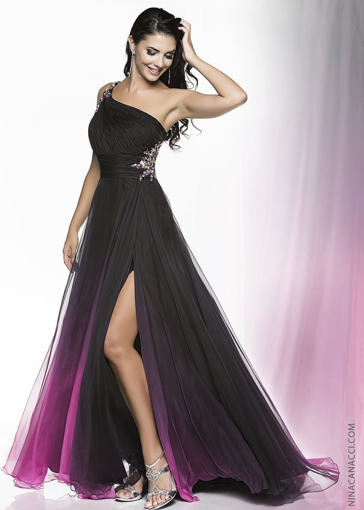d7b5fb010fd Nina Canacci 3000 -Black Fuchsia Ombre One Shoulder Beaded Prom Dresses  Online  thepromdresses