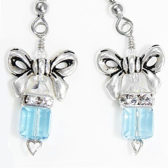 Tiffany Inspired Jewelry Box Swarovski Earrings