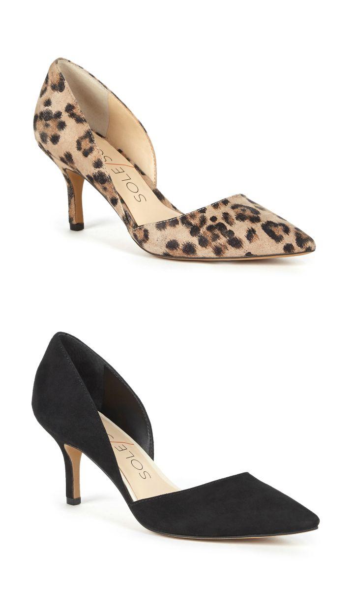 Classic leopard print \u0026 black mid heels