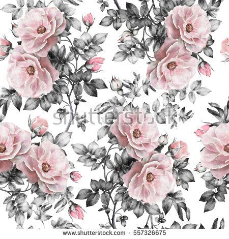 Seamless pattern with pink flowers and leaves on white background seamless pattern with pink flowers and leaves on white background watercolor floral pattern flower mightylinksfo