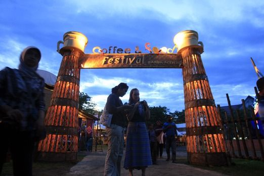 The Entrance Gate Of The Coffee Food Festival In Banda Aceh Arsitektur Latar Belakang Indonesia