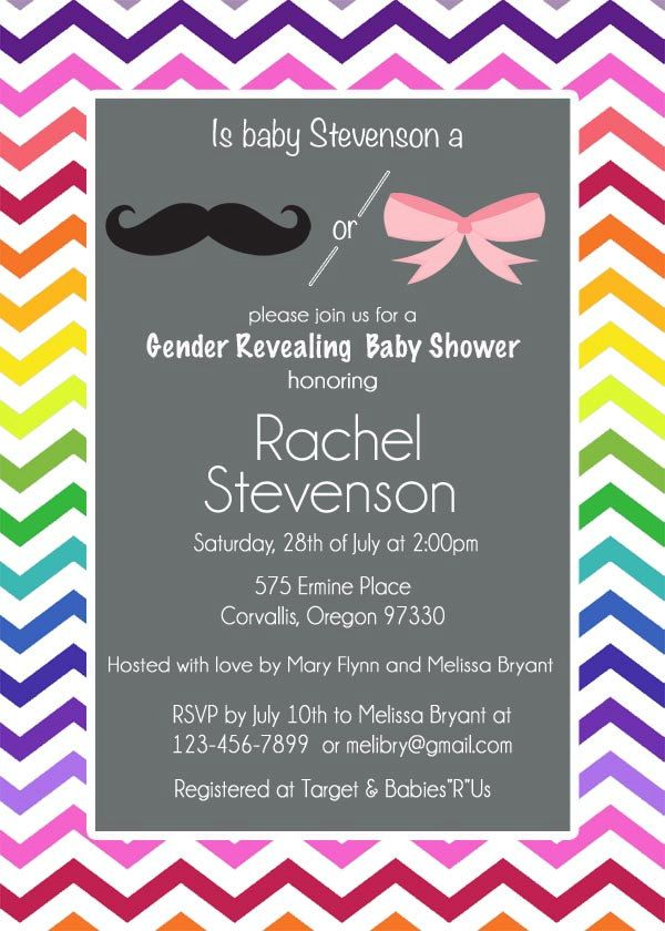 Rainbow Gender Reveal Baby Shower Invitation, Chevron Mustache and ...
