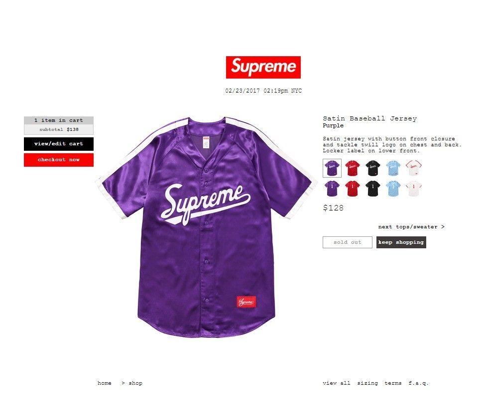 5c94496c3b31 Purple Supreme Satin Baseball Jersey Size Medium SS17