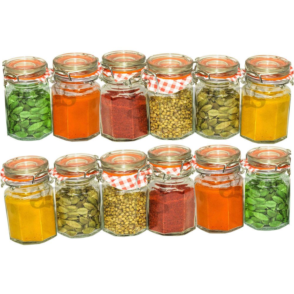 Superbe 12 Piece Kilner Vintage Hex 90ml Glass Clip Top Airtight Spice Herb Storage  Jars