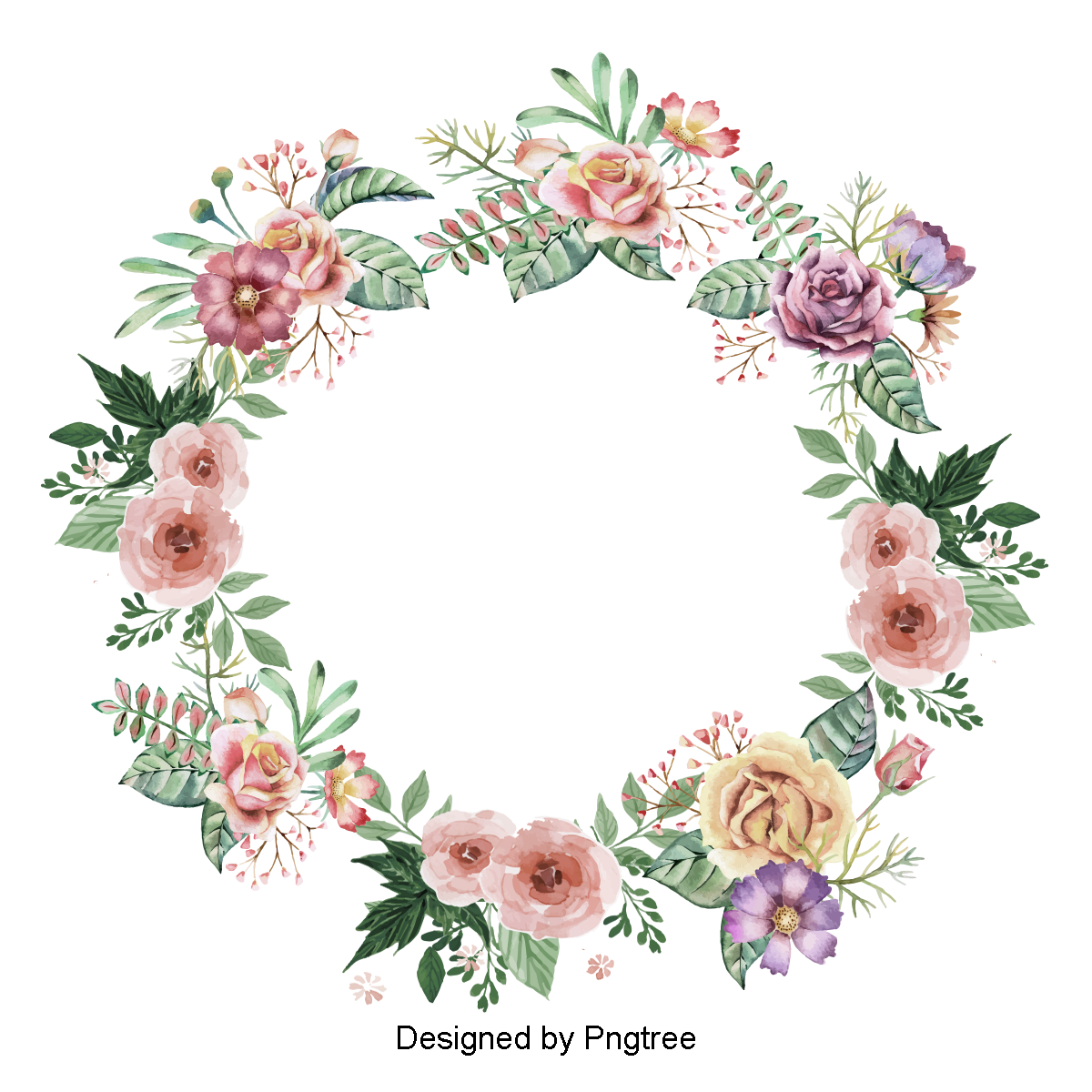 Watercolor Flowers Png Vector Psd And Clipart With: Beautifully Painted Wreath, Flower Vector, Flower, Flower