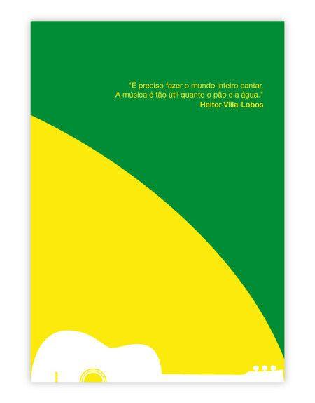 """O pôster Villa-Lobos É Preciso Cantar trás um violão e uma frase do compositor na qual ele diz: """"É preciso fazer o mundo inteiro cantar. A música é tão importante quanto o pão e a água"""". #operaclub #opera #musicaclassica #villalobos"""